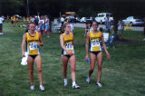 Brianna Dahm with two teammates after race, 2000-2004