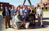 A group of male students in the Freshman Frontier Program poses outside the Alumni Memorial Union,...