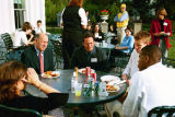 Members of the 2003 men's basketball team attend a picnic with Wisconsin Governor Jim Doyle, 2003
