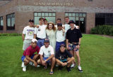 A group of male students in the Freshman Frontier Program pose with Mary Minson, 1992