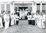 Bishop Jeanmard and Parish at Dedication of St. John Vianny Chapel, Mouton Switch, Louisiana, 1942