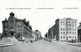 Street view of St. Benedict the Moor Institute and St. Anthony Hospital, Milwaukee, Wisconsin,...