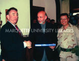 Tommy Thompson with Hamid Karzai and Major David Gan, ca.2002-2003