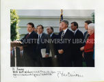 Tommy Thompson, Bill Clinton and other governors at NAFTA event; November 16, 1993