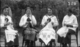 Sicangu women sewing lace at St. Francis Mission School, 1921