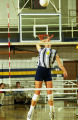 Christine Curtin Lipke prepares to spike the volleyball, 1997