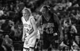 Rachel Klug guards Arkansas State University player, 1998-1999