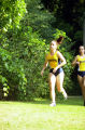 Anne Faas and Megan Plante run outdoor race, 1999