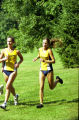 Lezlye Moran and Jessica Swan run outdoor race, 1999
