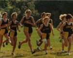 Women's cross-country team running as a group, 1981