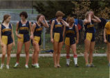 Women's cross-country team await the start of race, 1981-1982