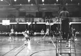 Elizabeth (Doyle) Treacy sets volleyball, 1976