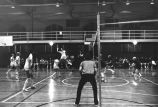 Maureen Feeney jumps to attack volleyball, 1976