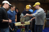 Marquette students engineer structures out of donated food items, 2004