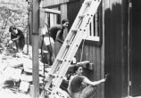 Marquette students work to rebuild a house, undated