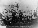 Students and faculty of Tulalip Mission School, 1865