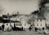 Fire destroying Indian school, 1947