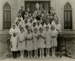 Bishop with confirmation class in Carson City, 1930? - 1940?