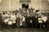 Confirmation class in Hayward with Bishop Reverman, 1932