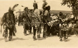 Five Ojibwa men dancing, 1920 - 1930?