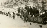 Father Delon on sled tour of missions, 1929