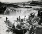 Fishing on Columbia River at Celilo Falls, 1953?