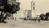 Yaqui soldiers assembling for Mass, 1920