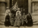Osage Indian group in Jersalem with Archbishop Daeger at Church of the Holy Sepulcher, 1920 - 1932?