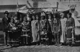 Men and women in jingle dresses and traditional dress, 1929?
