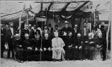 Bishop Mathias C. Lenihan with clergy (including Ojibwa Rev. Gordon) and laymen at Catholic Sioux...