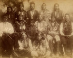 Osage Indian chiefs and councilors in native dress including grizzly bear claw necklace, 1891?