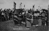"Round dance (""squaw"" dance) performed by adults in native dress, 1908"