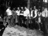 Father Matieu with leaders of Great Lakes Inter-Tribal Council, 1974?