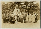 Ojibwa pageant group in traditional dress, 1936